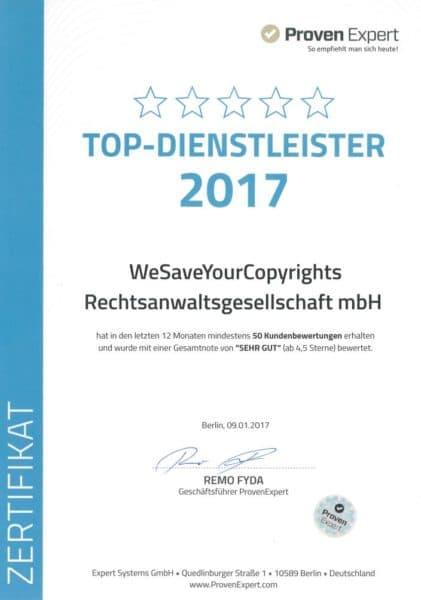 20170109_Screenshot_Top Dienstleister 2017 Urkunde v. Proven Expert