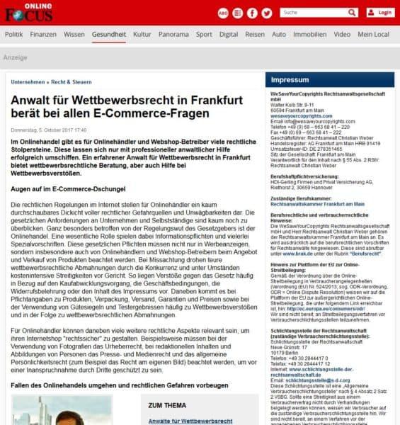 Anwalt-Wettbewerbsrecht-Frankfurt-Focus-Online